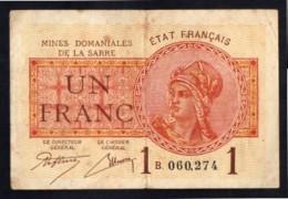 Mines Domaniales De La Sarre -  1 Francs - Lettre B - TB+/TTB - Treasury