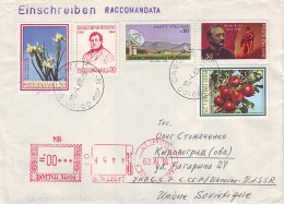 ITALY 1969. REGISTERED LETTER From Cagliari To UKRAINE. Cover Franked By Nice Commemorative Stamps G. ROSSINI, IRIS Etc. - 6. 1946-.. Republik