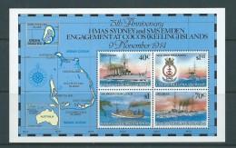 Cocos Keeling Island 1989 Ship Sea Battle Emden Sydney Anniversary Miniature Sheet MNH - Cocos (Keeling) Islands