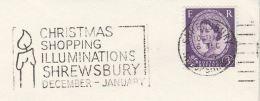 1966 GB Stamps COVER  SLOGAN Pmk CHRISTMAS SHOPPING ILLUMINATIONS SHREWSBURY Illus CANDLE - Christmas