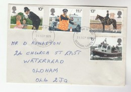 1979 Oldham GB FDC POLICE Stamps Cover Horse Boat  Etc - Police - Gendarmerie