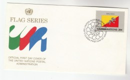 1974 United Nations NY FDC BHUTAN FLAG DRAGON Stamps  Cover Un - Mythology