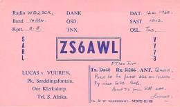 Amateur Radio QSL Card - ZS6AWL - South Africa - 1968 - Radio Amateur