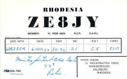 Amateur Radio QSL Card - ZE8JY - Rhodesia AFRICA - 1968 - Radio Amateur