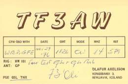 Amateur Radio QSL Card - TF3AW - Reykjavik, ICELAND - 1976 - Radio Amateur