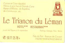 """CARTE ET SON PLAN D'ACCES """"TRIANON DU LEMAN"""" THONON LES BAINS    REF 47193 - Hotelkarten"""