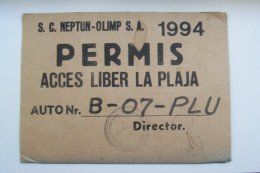 ROMANIA-TICKET FREE ACCES TO BEACH,NEPTUN OLIMP - Old Paper