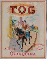 66 Apéritif Quinquina TOG Jolie Catalane Sur Mule Harnaché Publicité Albert Trilles Et Cie Perpignan 10x12.8cm étiquette - Publicités