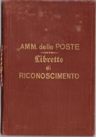 Regno. Storia Postale 1910. LIBRETTO DI RICONOSCIMENTO POSTALE - 1900-44 Vittorio Emanuele III