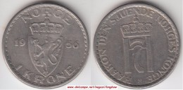 Norvegia 1 Krone 1956 Km#397.2 - Used - Norvegia