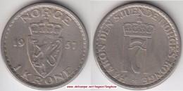 Norvegia 1 Krone 1957 Km#397.2 - Used - Norvegia