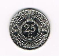 °°°  NEDERLANDSE ANTILLEN   25 CENTS  1990 - Antillen (Niederländische)