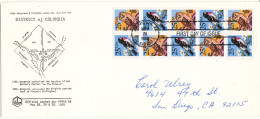 USA FDC 28-5-1988 Double Stripe With 10 Stamps BIRDS From Booklet With Official NAPEX 88 Cachet - 1981-1990