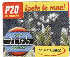 Botswana, Prepaid P 20 Card, Mascom - Botswana
