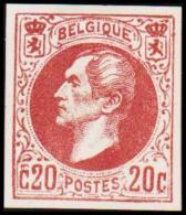 1865. Leopold I. BELGIQUE POSTES. 20 CENTIMES. Essay. Redbrown.    (Michel: ) - JF194542 - Probe- Und Nachdrucke