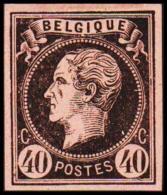 1865. Leopold I. BELGIQUE POSTES 40 CENTIMES Essay. Black On Rosaorange Paper.  (Michel: ) - JF194603 - Probe- Und Nachdrucke