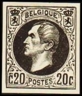 1865. Leopold I. BELGIQUE POSTES. 20 CENTIMES. Essay. Black On Yellow Paper.      (Michel: ) - JF194540 - Probe- Und Nachdrucke