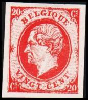 1865. Leopold I. BELGIQUE VINGT CENTs 20 Cs Essay. Red.     (Michel: ) - JF194554 - Probe- Und Nachdrucke