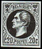 1865. Leopold I. BELGIQUE POSTES. 20 CENTIMES. Essay. Black On Bluish Paper.   (Michel: ) - JF194541 - Probe- Und Nachdrucke