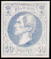 1865. Leopold I. BELGIQUE POSTES 40 CENTIMES Essay. Bluegray.     (Michel: ) - JF194613 - Probe- Und Nachdrucke
