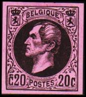 1865. Leopold I. BELGIQUE POSTES. 20 CENTIMES. Essay. Black On Rosa Paper. (Michel: ) - JF194539 - Probe- Und Nachdrucke