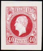 1865-1866. Leopol I. BELGIQUE POSTES 40 CENTS Essay. Dark Violet. (Michel: ) - JF194475 - Probe- Und Nachdrucke