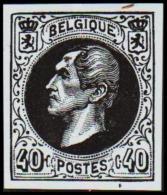 1865. Leopold I. BELGIQUE POSTES 40 CENTIMES Essay. Black On Bluish Paper.     (Michel: ) - JF194614 - Probe- Und Nachdrucke