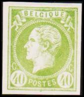 1865. Leopold I. BELGIQUE POSTES 40 CENTIMES Essay. Green.     (Michel: ) - JF194599 - Probe- Und Nachdrucke
