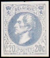 1865. Leopold I. BELGIQUE POSTES. 20 CENTIMES. Essay. Blå.    (Michel: ) - JF194536 - Probe- Und Nachdrucke