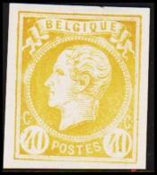 1865. Leopold I. BELGIQUE POSTES 40 CENTIMES Essay. Yellow     (Michel: ) - JF194597 - Probe- Und Nachdrucke