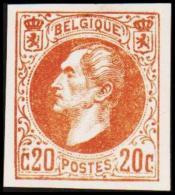 1865. Leopold I. BELGIQUE POSTES. 20 CENTIMES. Essay. Brun.    (Michel: ) - JF194535 - Probe- Und Nachdrucke