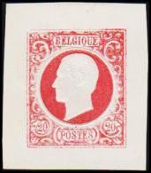 1865. Leopold I. BELGIQUE POSTES. 20 CENTIMES. Essay. Red.     (Michel: ) - JF194548 - Probe- Und Nachdrucke