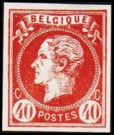 1865. Leopold I. BELGIQUE POSTES 40 CENTIMES Essay. Redbrown.     (Michel: ) - JF194605 - Probe- Und Nachdrucke