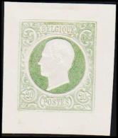 1865. Leopold I. BELGIQUE POSTES. 20 CENTIMES. Essay. Green.     (Michel: ) - JF194546 - Probe- Und Nachdrucke