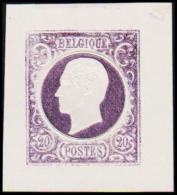 1865. Leopold I. BELGIQUE POSTES. 20 CENTIMES. Essay. Violet.     (Michel: ) - JF194547 - Probe- Und Nachdrucke
