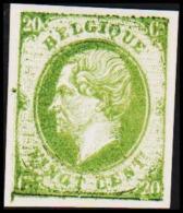 1865. Leopold I. BELGIQUE VINGT CENTs 20 Cs Essay. Green     (Michel: ) - JF194553 - Probe- Und Nachdrucke