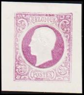 1865. Leopold I. BELGIQUE POSTES. 20 CENTIMES. Essay. Violet.     (Michel: ) - JF194551 - Probe- Und Nachdrucke