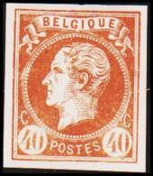 1865. Leopold I. BELGIQUE POSTES 40 CENTIMES Essay. Brown.     (Michel: ) - JF194601 - Probe- Und Nachdrucke