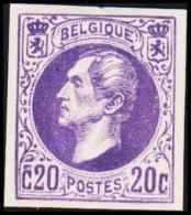 1865. Leopold I. BELGIQUE POSTES. 20 CENTIMES. Essay. Violet.     (Michel: ) - JF194545 - Probe- Und Nachdrucke