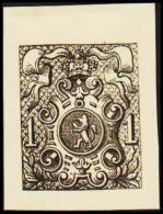 1866. Weapon.1 CENT. Essay. Black On Yellow Paper.  (Michel: 20) - JF194647 - Probe- Und Nachdrucke