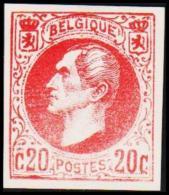 1865. Leopold I. BELGIQUE POSTES. 20 CENTIMES. Essay. Red.    (Michel: ) - JF194538 - Probe- Und Nachdrucke