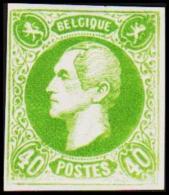 1865. Leopold I. BELGIQUE POSTES 40 CENTIMES Essay. Green.     (Michel: ) - JF194596 - Probe- Und Nachdrucke