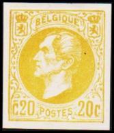 1865. Leopold I. BELGIQUE POSTES. 20 CENTIMES. Essay. Yellow.    (Michel: ) - JF194544 - Probe- Und Nachdrucke