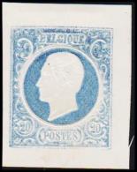 1865. Leopold I. BELGIQUE POSTES. 20 CENTIMES. Essay. Blue.     (Michel: ) - JF194552 - Probe- Und Nachdrucke