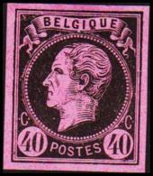 1865. Leopold I. BELGIQUE POSTES 40 CENTIMES Essay. Black On Rosa Paper. (Michel: ) - JF194598 - Probe- Und Nachdrucke