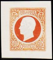 1865. Leopold I. BELGIQUE POSTES. 20 CENTIMES. Essay. Yellowbrown.     (Michel: ) - JF194549 - Probe- Und Nachdrucke
