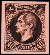 1865. Leopold I. BELGIQUE POSTES 40 CENTIMES Essay. Black On Rosaorange Paper.        (Michel: ) - JF194595 - Probe- Und Nachdrucke