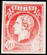 1865. Leopold I. BELGIQUE POSTES 40 CENTIMES Essay. Red.     (Michel: ) - JF194606 - Probe- Und Nachdrucke