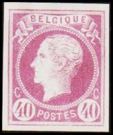 1865. Leopold I. BELGIQUE POSTES 40 CENTIMES Essay. Violet.     (Michel: ) - JF194604 - Probe- Und Nachdrucke