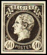 1865. Leopold I. BELGIQUE POSTES 40 CENTIMES Essay. Black On Yellow Paper.     (Michel: ) - JF194611 - Probe- Und Nachdrucke